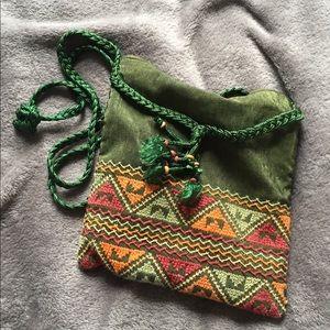 Handbags - Green embroidered cloth purse